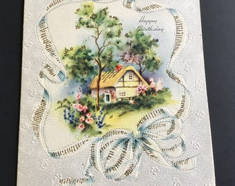 Vintage (Unused) Birthday Greeting Card, cottage in the trees, gold sparkles