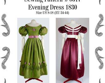 Biedermeier Abendkleid um 1830 Schnittmuster #0317 Grösse EU 34-56 (US 8-30) PDF Download