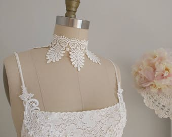 Ivory Venice Lace Choker, Bridal Necklace , Wedding, Necklace, Baroque, Gothic , Victorian Necklace, Gothic Bohemian, Romantic Choker