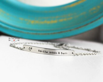 Personalized Stainless Steel Bar Bracelet | Custom Name Bar Bracelet | Nameplate Bracelet | Coordinate Bracelet | Skinny Horizontal Bar