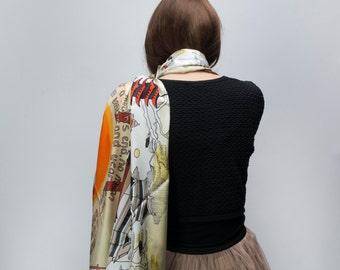Silk scarf: hand drawn pattern digitally printed