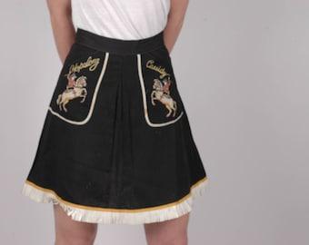 True vintage rare 1950s Hopalong Cassidy gab fringed western skirt, rockabilly, westernwear