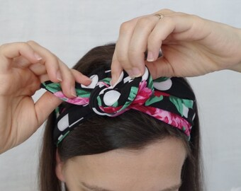 Hair band with polka dots and flowers
