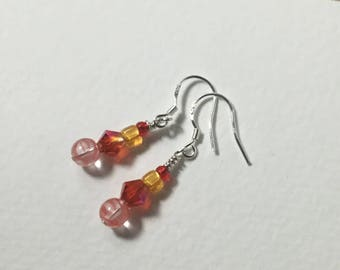 Hot fire crystal and striped orange glass beaded drop earrings, sterling silver