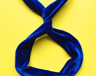 Blue Velvet Wire Headband