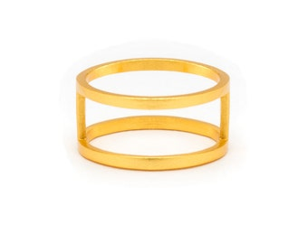 Gold Double Band Ring - Gold Ring - Gold Band Ring - Stacked Gold Ring - Stacked Ring - Double Ring Band