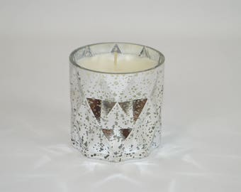 silver prism cylinder candle