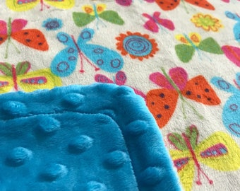 Minky Blanket Multi Color Butterfly Print Minky with Turquoise Dimple Dot Backing - perfect blanket for a baby or toddler, stroller blanket