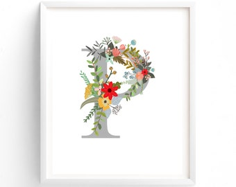 Letter P, Wildflower Floral, Printable Letter Monogram, Nursery Art. Art Prints, Baby Girl Nursery, Wall art Prints