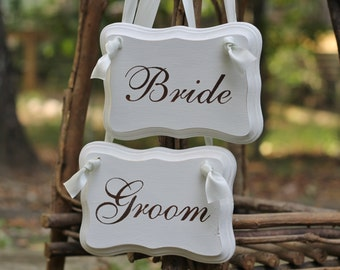 Bride Groom Chair Signs Personalized Photo Props, Jute Twine Rustic Shabby Chic Weddings