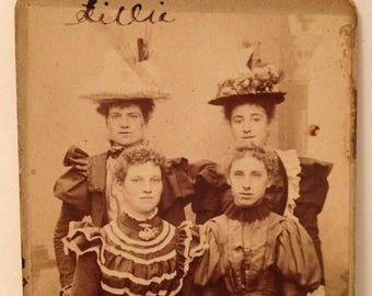 ON SALE Sittingbourne Kent England Antique Late 1800's CDV carte de visite Photograph Photo Old Vintage Four Pretty Beautiful Young Women Na