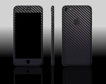iPhone 7 Black Textured Carbon Fiber Phone Skin Sticker Decal