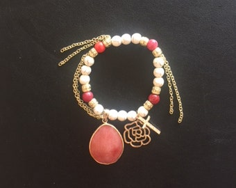 White and Multi Color Red and Pink Beaded Bracelet