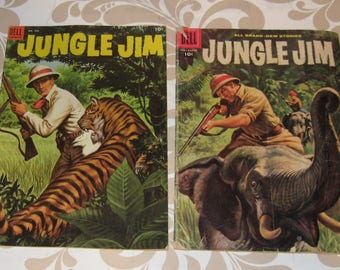 Jungle Jim comic lot of 2, #490 the first Dell issue in great shape and a 1958 #15 (G/P), all ship for .02