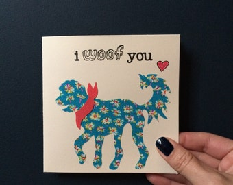 """Liberty London Golden Doodle (Design 2) """"I Woof You"""" silhouette handmade greeting card"""