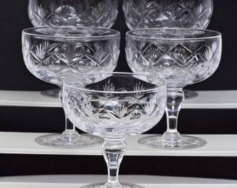 Thomas Webb Crystal Champagne Glass Thumbprint in a Circle and Fan Signed; 1950-1966; Rare