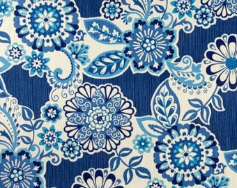 Two 20 x 20  Custom Designer Decorative Pillow Covers for Indoor/Outdoor - Large Floral - Blue Indigo Denim Sky