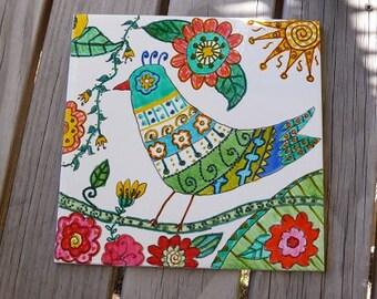 Bowerbird Tile, Abstract Florals, Handpainted Tile,Australia, Mosaics, Garden Art, Wall Art, Crafts