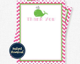 Whale Thank You Cards, Birthday Thank You Cards, Preppy Thank You Cards, Girl Thank You Cards Printable INSTANT DOWNLOAD