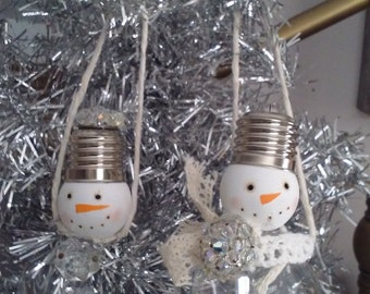 Snowman lightbulb assemblage Christmas ornament upcycled recycled mixed media home decor