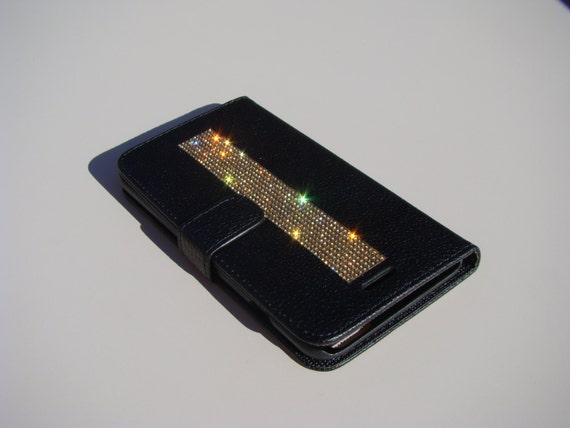 iPhone 6 Plus Wallet Case/ iPhone 6s Plus Wallet CaseGold Topaz Crystals on Black Wallet Case. Velvet/Silk Pouch bag Included, .