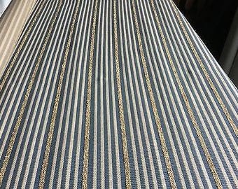 """Upholstery Scrap Remnant Blue/white/gold stripe fabric 55""""x 2 yards. Furniture"""