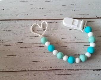 Organic teething pacifier clip - Minime Aqua