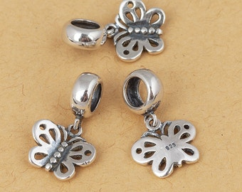 S925 Sterling Silver Butterfly charm ,  Antique Silver , Large hole/big hole European style bracelet charm , 1pc