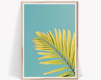 Palm Leaf Print,Turquoise,Yellow,Art Prints,Leaf,Large Wall Art,Botanical Prints,Botanical Art Prints,Botanical,Wall Art,Digital Download