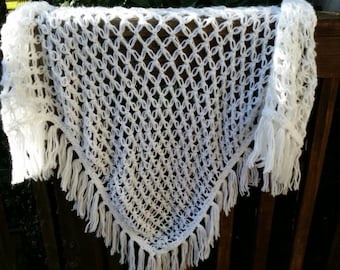 Iceberg white crochet triangle shawl