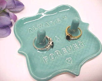 Mr Mrs Double Post - Pottery Ring Holder Dish - Engagement Gift for Couple - Custom Engraved - Ring Storage - Turquoise Blue - Jewelry Dish