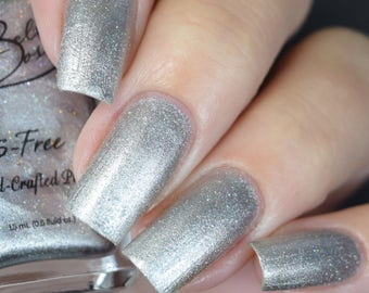 Quicksilver - Gorgeous Metallic Silver Nail Polish with Tiny Holographic Glitters