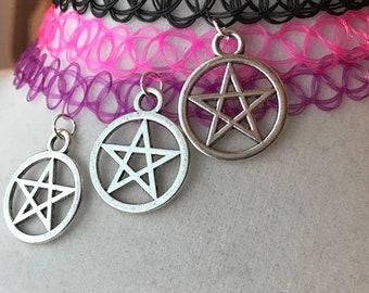 Pentacle Charm Choker ~ Pentagram Jewelry Tattoo Choker