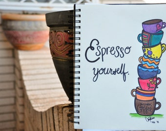 Espresso Yourself - Coffee Cups Drawing Print