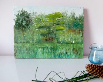 """Oil Painting """"Nature. Green Scenery."""" Handmade Drawing"""
