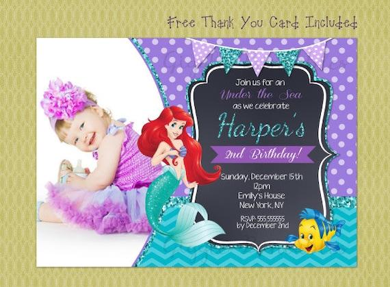 Ariel Birthday Invitation Little Mermaid invitations Ariel