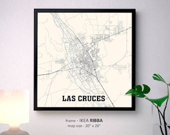 Las Cruces New Mexico Map Print, Las Cruces NM Square Map Poster Wall Art Gift, New Mexico State University, Custom Personalized map