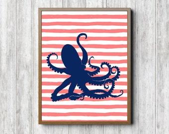 Octopus Printable Nursery Wall Art   Coral U0026 Navy Girls / Boys Room Wall  Decor