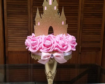 Princess Castle/ Princess Theme/ Princess Castle Centerpiece/ Pink and Gold/ Pink and Silver/ Castle and Roses Centerpiece/ Princess