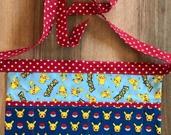 Teacher apron waiter apron - 4 pocket utility apron - Pikachu Pokemon teacher appreciation gift server apron