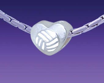 Enamel Volleyball in Heart Triple Silver Plated Large Hole European Bead Usa seller
