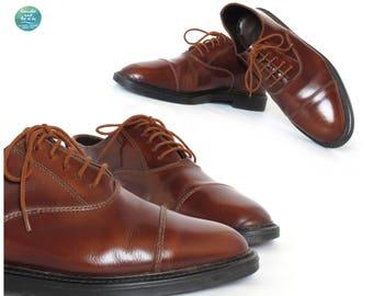 Mens Chestnut Oxfords, 90s Brown Leather Lace Ups, Vintage Mens Marbled Brogues, Mens Derby Shoes, us 8, uk 7, eu 41
