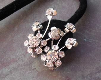 Vintage Rhinestone Earrings Bridal Floral Sprays 1950s Clip Ons Wedding Jewelry
