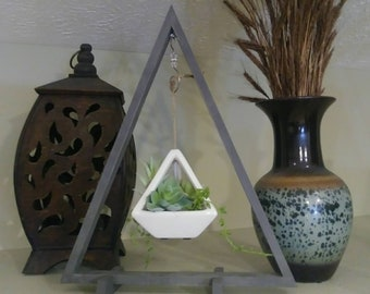 Rustic Modern Wood Triangle Size Large in Gray Chalk Paint