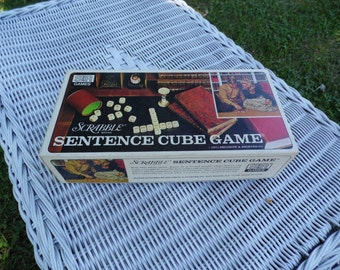 FINAL SALE Scrabble Brand Vintage Sentence Cube Game 1971 by Selchow and Righter complete game with instructions ready for family game night