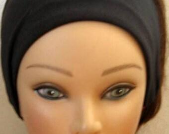Jersey Knit Headband, Black Elastic Hair Band, Workout Band Elastic Band Headband, Jogging Hair Accessory, Hair Turban, Women and Teens