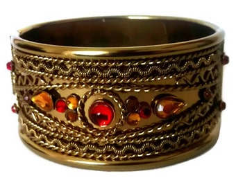 Gold Statement Bracelet - Gold Cuff Bracelet - Vintage Statement Bracelet - Vintage Gold Cuff - Vintage Gold Bracelet - Statement Cuff