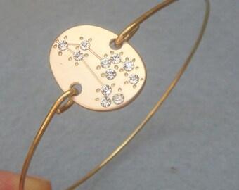 Leo -personalized Zodiac Constellation bangle bracelet - July   August Birthday