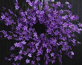 "Purple Blossom Spring and Summer Wreath - XL 28"" Diameter"