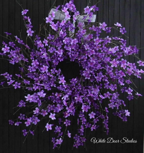 "Purple Blossom Spring and Summer Wreath - XL 28"" Diameter"
